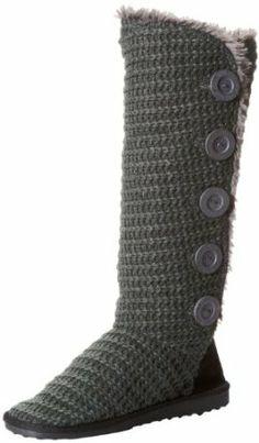 Amazon.com: Muk Luks Women's Malena Crochet Knit Button Down Boot: Clothing