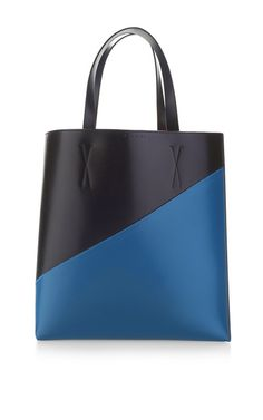Carbon And Iris Blue Museum Medium Shopping Tote by Marni for Preorder on Moda Operandi