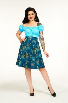 Laura Byrnes Little Jun Skirt in Astrology Print | Retro Style Pleated Skirt | Pinup Girl Clothing
