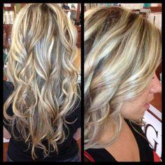 Blonde chunks/highlights Long hair