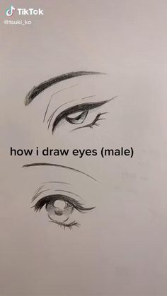 Realistic Pencil Drawings, Art Drawings Sketches Simple, Pencil Art Drawings, Cute Drawings, Drawing Faces, Drawing Eyebrows, How To Draw Anime Eyes, Manga Eyes, Eye Drawing Tutorials