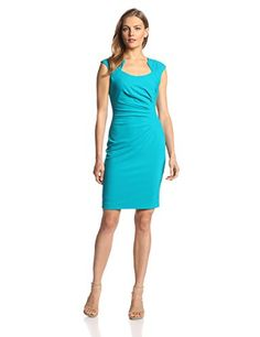 Calvin Klein Women's  Cap Sleeve Side Rouched Sheath Dress, Lagoon, 2 Calvin Klein