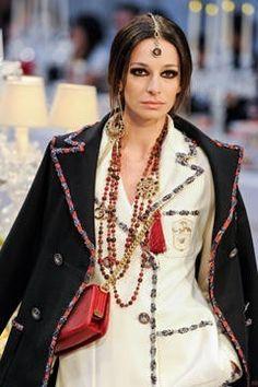 Amazing Chanel Paris Bombay White Wool Jeweled Jacket
