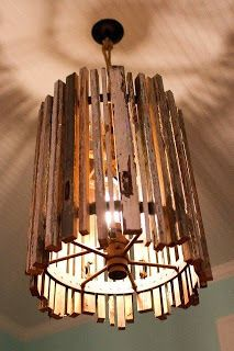 Pallet lamp shade.  Lamp making.  Up-cycling and reclaimed lighting and furniture.