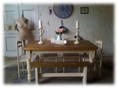shabby chic rustic farmhouse solid 8 seater dining table bench and 6