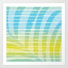 Palm Leaf Shadow on Tropical Striped Screen Art Print