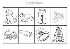 Free Printable Rhyming Cards for Preschool and Kindergarten via www.pre-kpages.com