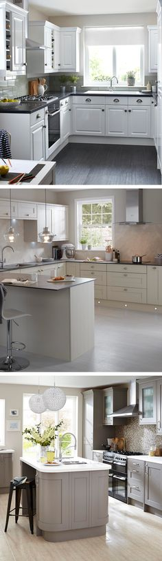 Neutral kitchens look understated and stylish, effortlessly. Pair gleaming white with soft slate-grey worktops, grey flooring or grey painted cupboards to add a bit of warmth to the room. Design your dream kitchen today! Kitchen Paint, Home Decor Kitchen, New Kitchen, Kitchen Cabinets, White Kitchen Cupboards, Kitchen White, Grey Kitchen Worktops, Painting Kitchen Cupboards, Kitchen Remodeling