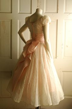 1950s Wedding Dress / Vintage Pale Pink Tea Length Dress
