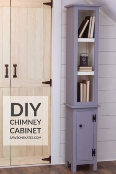 Build a tall, narrow DIY chimney cabinet with these free plans! This is a great solution for awkward areas that are begging for a little extra storage. It's perfect for a living room, bathroom, or kitchen. The small size and simple, rustic style of this cupboard complements nearly any decor. Narrow Bookshelf, Bookshelf Storage, Tall Cabinet Storage, Shelves, Wood Shop Projects, Diy Furniture Projects, Woodworking Projects, Diy Projects, Project Ideas