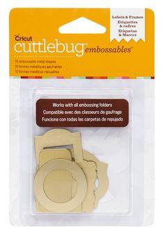 www.memorymiser.com - Cuttlebug Embossables Labels & Frames - Gold