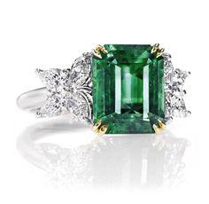 Harry Winston Emerald Cut Emerald & Diamond Ring