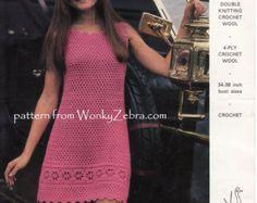 Vintage Crochet Party Dress Pattern PDF 691 from WonkyZebra