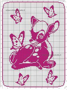 Schema filet uncinetto gratis copertina neonato con Disney Bambi 110x150