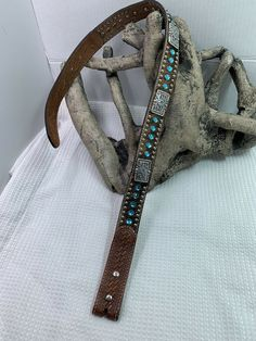 f937b7d9c mens Womens Nocona belt Blue Rhinestone Calf Hair Conchos Silver Bling    300  fashion