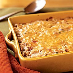 This is a Hash Brown Casserole with bacon, onions and cheese.  This site has 40 Breakfast casseroles on it for christmas, special occasions, or just because.