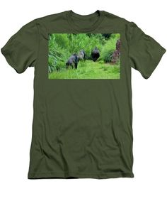 Homininae Men's T-Shirt (Athletic Fit) featuring the photograph Ape Lunch Break by Cynthia Guinn