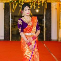 Looking for contrast blouse ideas of your orange Sarees? Here are 11 chic blouse colors to try with your orange saree. Wedding Saree Blouse Designs, Pattu Saree Blouse Designs, Saree Blouse Patterns, Fancy Blouse Designs, Skirt Patterns, Coat Patterns, Clothes Patterns, Sewing Patterns, Blouse Back Neck Designs