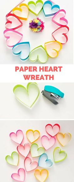 kids crafts for girls DIY Rainbow Paper Heart Pom Pom Wreath. Cute Valentines Day Craft for Kids Or Mothers Day. Easy Mother's Day Crafts, Valentine's Day Crafts For Kids, Valentine Crafts For Kids, Valentines Diy, Diy And Crafts, Arts And Crafts, Crafts Toddlers, Kids Diy, Quick Crafts