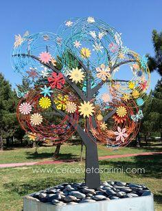 resimler/kelebekli, çiçekli metal ağaç