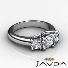 Round Diamond Women's 3 Stone Engagement Ring GIA G VS2 14k White Gold 1 8 Ct | eBay