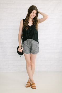 Capsule #3 / Outfit 29 track shorts   silk tank