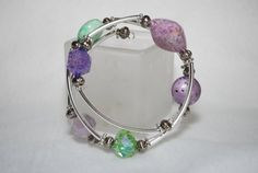 Purple and Green Memory Wire Bracelet on Etsy, $25.00