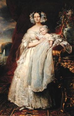 Duchess Helene of Mecklenburg-Schwerin, Duchess of Orleans, Princess Royal of France with her son Prince Philippe, Count of Paris by Franz Xaver Winterhalter, c.1839.