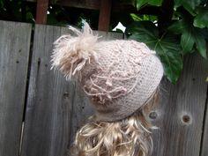 LAVENDER BLUSH TAM Mohair Crochet Hand Knitted Ladies by PepiZ