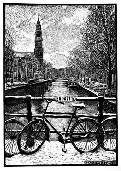 Linocut by Katarzyna Cyganik of Amsterdam. Amazing detail, and totally different from mine.