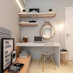 Trendy home office quarto feminino simples Ideas Home Room Design, Home Office Design, Home Office Decor, Small Bedroom Office, Study Room Decor, Bedroom Decor, Bedroom Furniture, Dorm Room Organization, Trendy Home