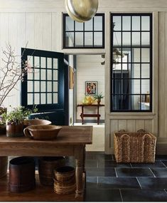 Where do we even begin with this stunning design by Loving the black windows against the pale wood tones, but every detail is beyond gorgeous! Interior Design Inspiration, Decor Interior Design, Home Decor Inspiration, Kitchen Inspiration, Beautiful Kitchen Designs, Beautiful Kitchens, Interior Windows, Modern Cottage, Gambrel
