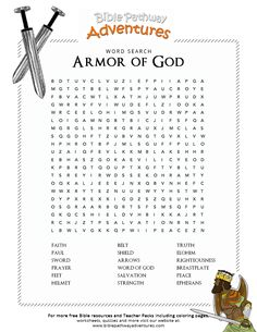 Enjoy our free Bible Word Search: Armor of God. Fun for kids to print and learn more about the Bible. Feel free to share with others, too! Bible Activities For Kids, Bible Study For Kids, Sunday School Activities, Bible Lessons For Kids, Sunday School Lessons, Bible Games, Kids Bible, Armor Of God Lesson, Lds
