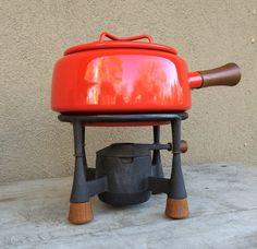 Vintage Dansk fondue pot with stand red orange by romaarellano