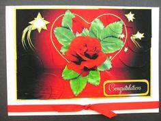 Dark Red Rose in Heart for Birthday or Love