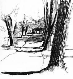 Fabulous Drawing On Creativity Ideas. Captivating Drawing On Creativity Ideas. Tree Drawings Pencil, Ink Pen Drawings, Realistic Drawings, Art Drawings Sketches, Landscape Sketch, Landscape Drawings, Cool Landscapes, Architecture Sketchbook, Art Sketchbook