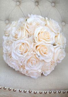 BLUSH Bridal Bouquet. Real Touch Silk Roses. by KimeeKouture