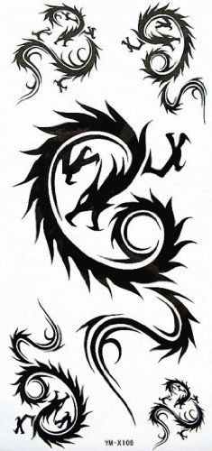"Tattoo size 7.28""x3.54"" COOL long last and non toxic fake temp tattoos dragon sexy stylish black shoulder totem. Safe and non-toxic design ideal for body art. Professional grade made to last 3 to 5 days and easily transferred by water. Perfect for vacations, girls night, pool parties, bachelorette parties, or any other event you want to look glamorous."