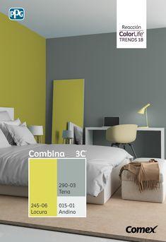 La llamativa gama de colores de #Reacción se inspira en lo inesperado y refleja la extraña belleza y la inexplicable armonía que se encuentran en los tonos inspirados en químicos, polvos, plásticos y en las señales de advertencia tóxica. #ComexTrends18 Bedroom Wall Designs, Bedroom Wall Colors, Bedroom Decor, Asian Paint Design, Room Color Combination, Interior Paint Colors For Living Room, Stair Decor, Room Color Schemes, Beautiful Bedrooms