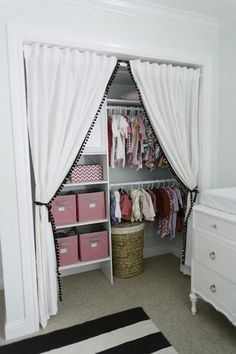 """A Closet Behind Curtains: """"Pinterest is always a great resource to find nursery inspiration. I was and still am obsessed!""""  Source: Michele Beckwith Photography"""