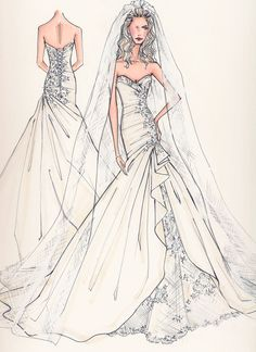Sweetheart mermaid tiered wedding dress Pin from http://www.yesmybride.net/gallery/sketches