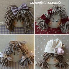 Buona domenica! Have a Great Sunday! Ecco le faccine delle mie minidolls...protagoniste di ricettari e album portafoto #glistoffosihandmade #countrycottage #countrystyle #countrydolls #counteydecor #igersarezzo #igersitalia #igerstoscana #artigianatoitaliano #madeinitaly #madeintuscany #spilloemirtillo #creativemamy #percorsicreativi #mammecreative Lace Beadwork, Applique Cushions, Doll Hair, Cutwork, Embroidery Applique, Puppets, Baby Dolls, Diy And Crafts, Cross Stitch