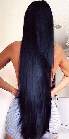 Fab black hairstyles for long hair Long Dark Hair, Very Long Hair, Beautiful Long Hair, Gorgeous Hair, Pretty Hairstyles, Straight Hairstyles, Black Hairstyles, Silky Hair, Hair Looks