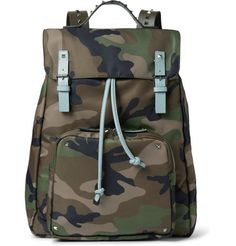 Valentino Leather-Trimmed Camouflage-Print Canvas Backpack | MR PORTER