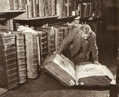 c. 1940s: Man with books