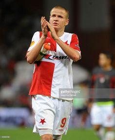 Adam Hlousek of SK Slavia Praha greets his fans after the UEFA Europa League Group B match between Genoa CFC and SK Slavia Praha at Luigi Ferraris Stadium on September 17, 2009 in Genoa, Italy.