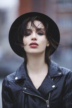 Veste cuir rose garden lady noir
