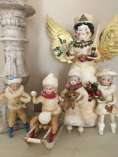 Antique Victorian Christmas cotton batting ornaments with porcelain heads Victorian Christmas Decorations, Antique Christmas, Vintage Christmas Ornaments, Primitive Christmas, Retro Christmas, Vintage Holiday, Xmas Decorations, Christmas Time, Christmas Crafts