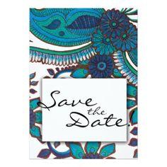 Something Blue Flower Beach Floral Wedding Pattern Card - wedding invitations diy cyo special idea personalize card
