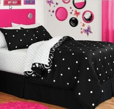 Black & White Polka Dot Reversible Full Comforter Set (8 Piece Bed In A Bag) by Morgan Teen. $119.49. Whether you're sleeping in or sleeping over, this reversible bed in a bag set has everything you need to dress your bed in style. The comforter and shams reverse from Black and White Dot pattern to Damask with Black and White Dot sheets, so it's easy to change things up and make your look your own. Everything is machine washable. The set includes: 1- FULL Size Comforter, 1...